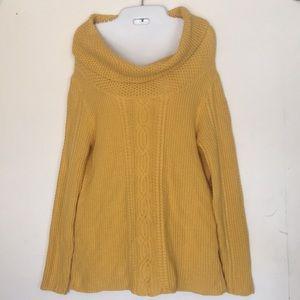 Nautica Women's Mustard Cable Knit Cowl Pullover